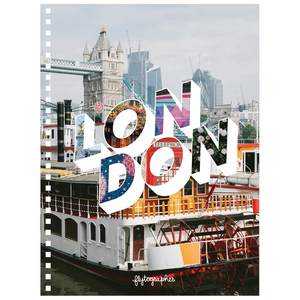 Colourful city 6.50x8.75 inch, spiral bound notebook with London written on the front.