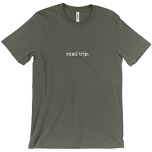 "Load image into Gallery viewer, Army green cotton T-shirt with words ""road trip"" written on front in white colour font"