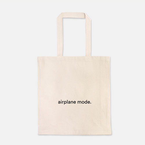 natural colour 100% Cotton Canvas bag with the words airplane mode written on the front