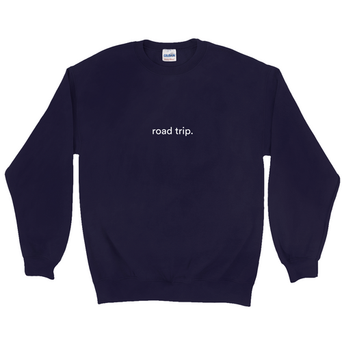 Navy cotton and polyester crewneck with white graphic writing on the front saying