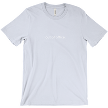 "Load image into Gallery viewer, light blue 100% cotton jersey soft T-shirt with the words ""out of office"" on front in white font"