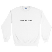 "Load image into Gallery viewer, White polyester and cotton crewneck with the words ""I'd rather be in Positano"" in black font colour written on the front"