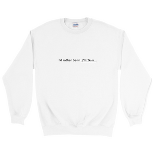 "White polyester and cotton crewneck with the words ""I'd rather be in Positano"" in black font colour written on the front"