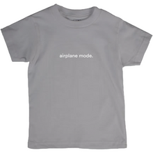 "Load image into Gallery viewer, Grey kids cotton t-shirt with the words ""airplane mode"" written in white font colour"