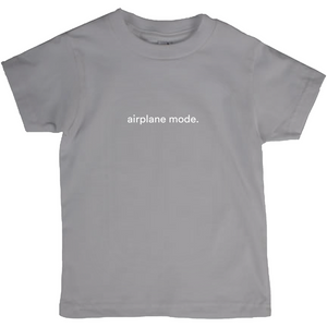 "Grey kids cotton t-shirt with the words ""airplane mode"" written in white font colour"