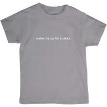"Load image into Gallery viewer, Dark grey kids cotton t-shirt with the words ""wake me up for snacks"" written in white font colour"