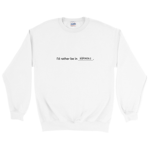 White polyester and cotton crewneck with the words