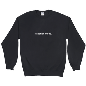 "Black polyester and cotton sweatshirt with a white graphic font on the front, saying ""vacation mode"""