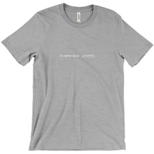 "Load image into Gallery viewer, Grey 100% cotton jersey soft T-shirt with the words ""I'd rather be in London"" in white font colour on front center"