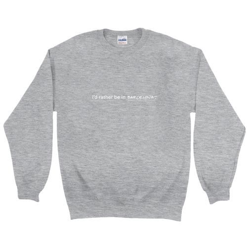 Grey  polyester and cotton crewneck with the words