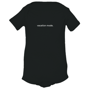 "Black 100% combed ringspun cotton fine jersey onesie with graphic saying ""vacation mode"" on front"