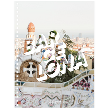 Load image into Gallery viewer, Colourful city 6.50x8.75 inch, spiral bound notebook with Barcelona written on the front.