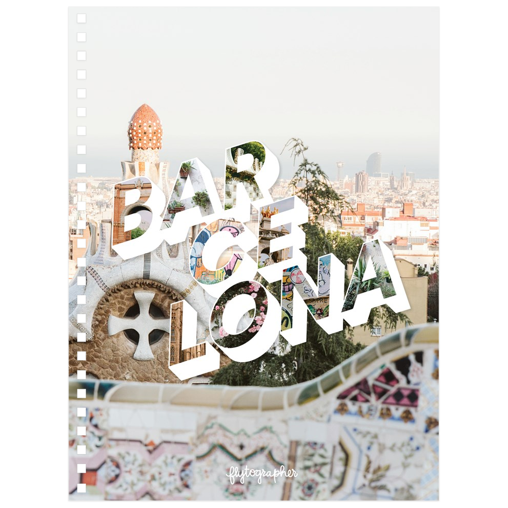 Colourful city 6.50x8.75 inch, spiral bound notebook with Barcelona written on the front.
