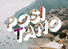 Load image into Gallery viewer, Medium, 252-piece puzzle measures 14 inches by 10 inches and has a glossy finish. It comes in a black box with a 5 x 7 print of the image on top of the box with image and word Positano