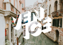 Load image into Gallery viewer, Medium, 252-piece puzzle measures 14 inches by 10 inches and has a glossy finish. It comes in a black box with a 5 x 7 print of Venice city image on top of the box.