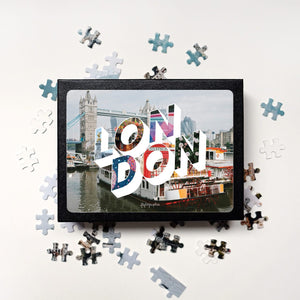 Medium, 252-piece puzzle measures 14 inches by 10 inches and has a glossy finish. It comes in a black box with a 5 x 7 print of the image on top of the box of London.