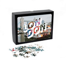 Load image into Gallery viewer, Medium, 252-piece puzzle measures 14 inches by 10 inches and has a glossy finish. It comes in a black box with a 5 x 7 print of the image on top of the box of London.