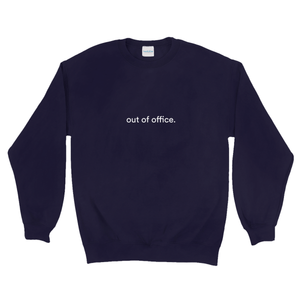 "Navy cotton and polyester crewneck with white graphic writing on the front saying ""out of office"""