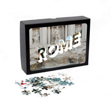 Load image into Gallery viewer, Medium, 252-piece puzzle measures 14 inches by 10 inches and has a glossy finish. It comes in a black box with a 5 x 7 print of Rome on the top of the box