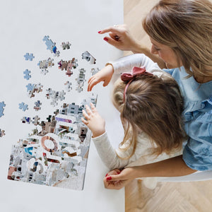 Medium, 252-piece puzzle measures 14 inches by 10 inches and has a glossy finish. It comes in a black box with a 5 x 7 print of the image on top of the box of Santorini.