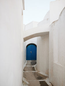 Santorini | Blue Door Print