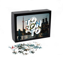 Load image into Gallery viewer, Medium, 252-piece puzzle measures 14 inches by 10 inches and has a glossy finish. It comes in a black box with a 5 x 7 print of Toronto city image on top of the box.