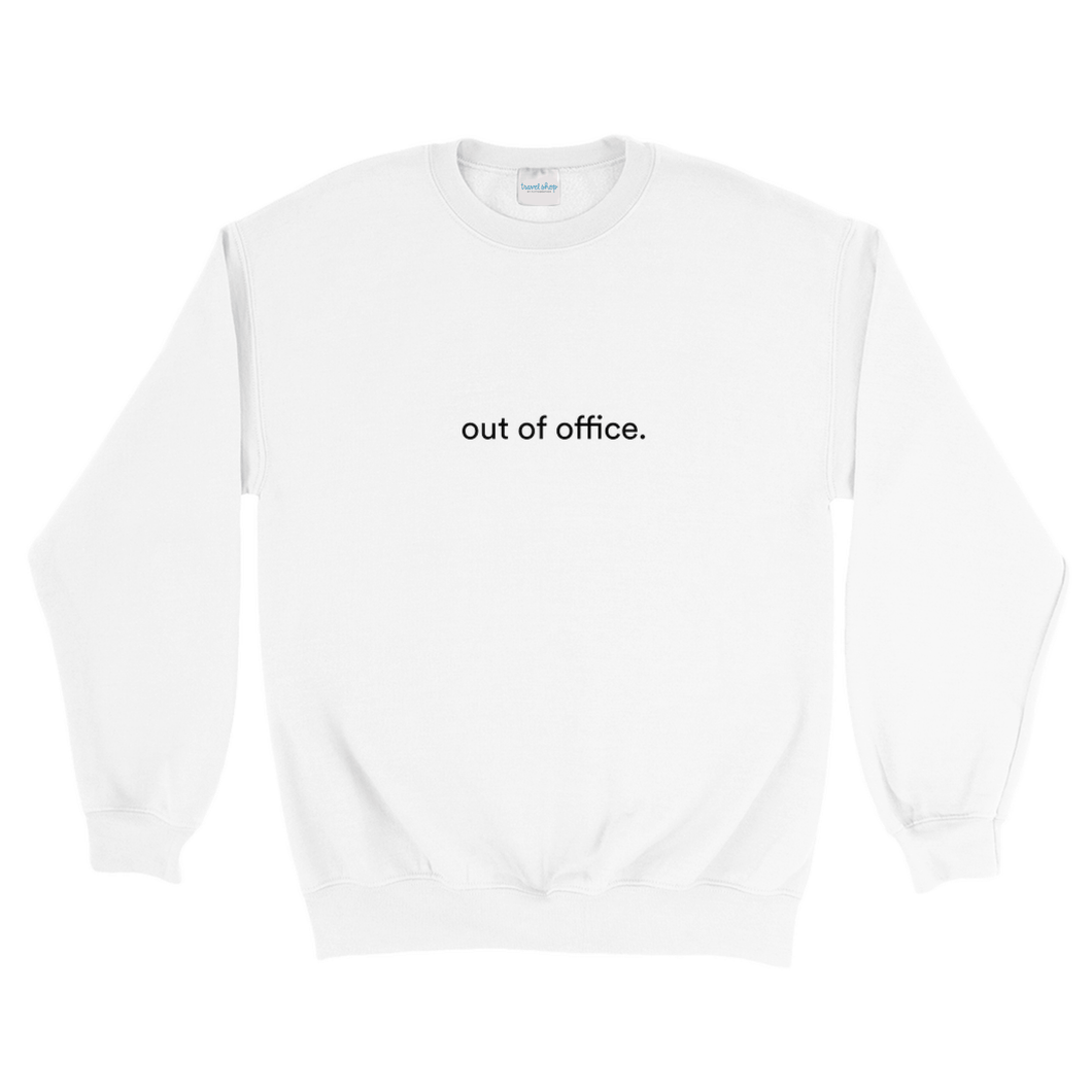 White cotton and polyester crewneck with white graphic writing on the front saying