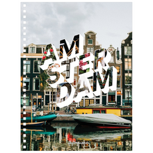 Load image into Gallery viewer, This 6.50x8.75 inch, spiral bound notebook has a pretty picture of Amsterdam on the cover  and is perfect for jotting thoughts and sketching ideas.