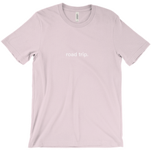 "Load image into Gallery viewer, light pink cotton T-shirt with words ""road trip"" written on front in white colour font"