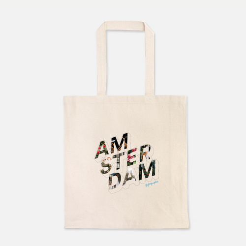 natural colour 100% Cotton Canvas bag with the word Amsterdam written on the front