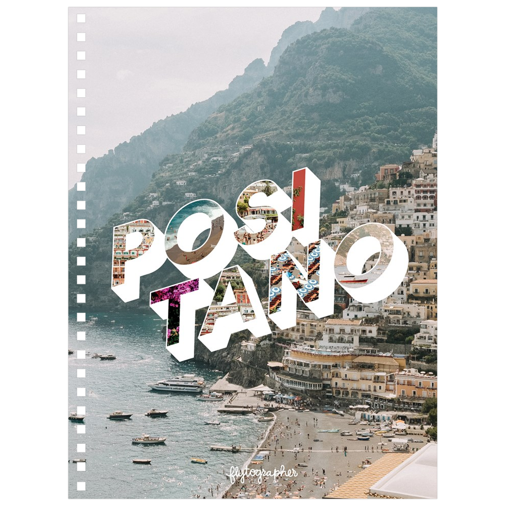 A 6.50x8.75 inch, spiral bound notebook with a picture of Positano on the Cover