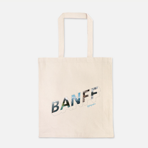 natural colour 100% Cotton Canvas bag with the word Banff written on the front