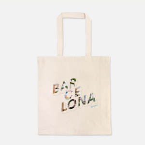 natural colour 100% Cotton Canvas bag with the word Barcelona on the front