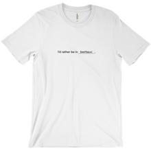 "Load image into Gallery viewer, white 100% cotton jersey soft T-shirt with the words ""I'd rather be in Santorini"" in black font colour on front center"
