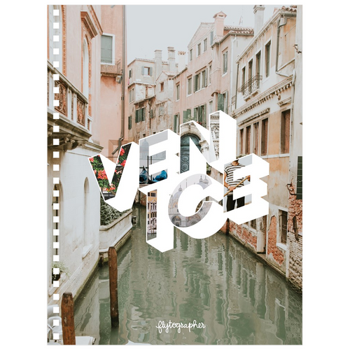 A 6.50x8.75 inch, spiral bound notebook with a picture of a place in Venice on the cover