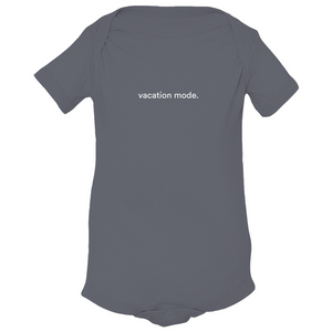 "Grey 100% combed ringspun cotton fine jersey onesie with graphic saying ""vacation mode"" on front"
