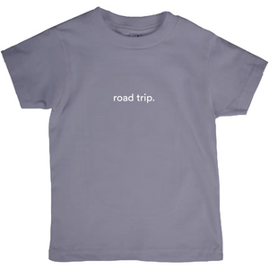 "dark grey kids cotton t-shirt with the words ""road trip"" written in white font colour"