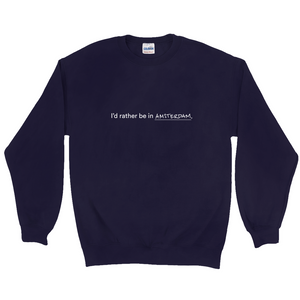 "Navy polyester and cotton crewneck with the words ""I'd rather be in Amsterdam"" in white font written on the front."