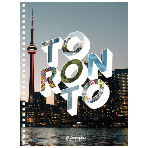 A 6.50x8.75 inch, spiral bound notebook with a picture of downtown Toronto on the cover