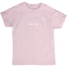 "Load image into Gallery viewer, Pink kids cotton t-shirt with the words ""road trip"" written in white font colour"