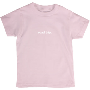 "Pink kids cotton t-shirt with the words ""road trip"" written in white font colour"