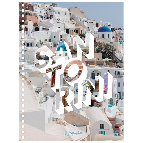A 6.50x8.75 inch, spiral bound notebook  with a picture of a place in Santorini on the cover