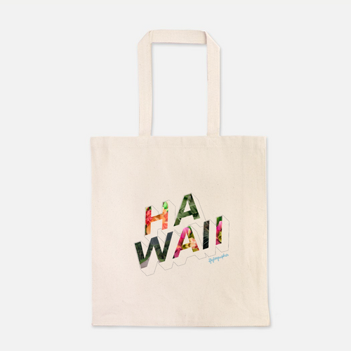 natural colour 100% Cotton Canvas bag with the word Hawaii written on the front