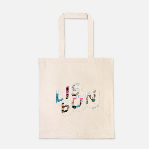 natural colour 100% Cotton Canvas bag with the word Lisbon written on the front