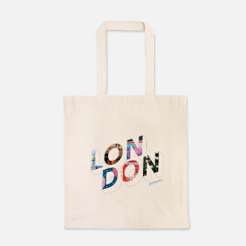 natural colour 100% Cotton Canvas bag with the word London written on the front