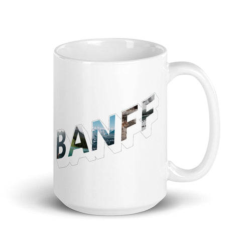 150z white ceramic mug with colourful graphic font on front saying Banff