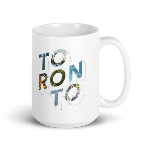 150z white ceramic mug with colourful graphic font on front saying Toronto