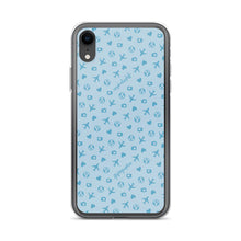 Load image into Gallery viewer, blue iPhone case with airplane, hearts, and globe pattern
