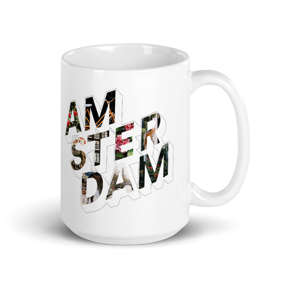 150z white ceramic mug with colourful graphic font  on front saying Amsterdam