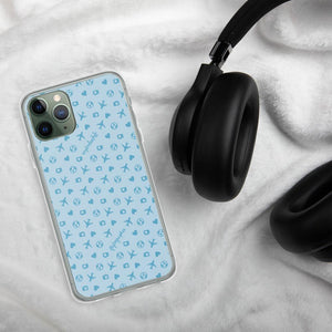 blue iPhone case with airplane, hearts, and globe pattern